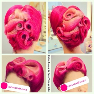 Abi Bovary Le Keux Vintage Diable Rose Pink Victory Roll Hair Style